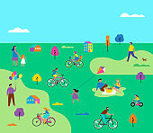 Summer outdoor scene with active family vacation, park activities illustration with kids, couples and families.