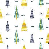 Vector seamless pattern with trees scandinavian print