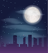 Silhouette of night city buildings. Dark metropolis landscape with skyscrapers and full moon.