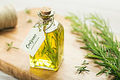 Rosemary oil with spanish tag.