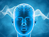 Human brain cognitive functions and intelligence concept 3d illustration.