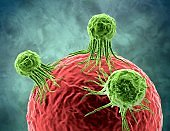 Tumor cancerous cell attacking organism tissue concept illustration.
