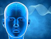 Brain waves, perception, brain power and human intellect idea, 3d illustration.