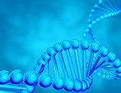 Blue DNA strand helix, illustration with blurry background.