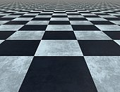 Black and white tiled 3d checkered floor with grain and scratches texture.