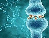 Neurotransmitters brain cells signals transferring information, neuroscience concept illustration.