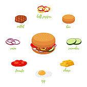 Vector hamburger menu with different ingredients. Burger constructor