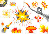 Set cartoon explosions