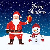 Vector Santa Claus, snowman at Christmas night