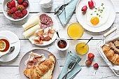 Breakfast food table.