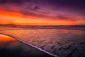 beautiful shore in beach at sunset