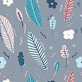 Design of a seamless pattern with a decor of flowers, leaves and twigs. A gentle background in the Scandinavian style of minimalism. Modern wallpaper in the style of a huggie. Vector