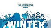 Abstract geometric design for winter. Christmas offer banner with vector liquid form and decor of snowflakes and sparkles. Blue creative template mid season sale graphic with fluid dynamic shape.