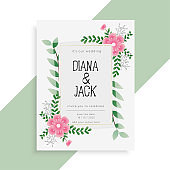 lovely floral wedding card invitation design