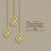 elegant golden christmas balls premium background