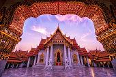 Morning Light at Marble temple, Wat Benchamabophit, Bangkok, Thailand