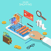 Online shopping flat isometric vector concept.