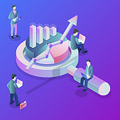 Data analysis flat isometric vector concept.