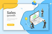 Sales growth isometric flat vector conceptual illustration.
