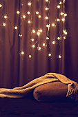 cozy corner of the house. Lights, a sofa with pillows and a blanket. Hyuugge, cozy home
