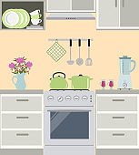 Fragment of a kitchen interior in gray color with pink peonies