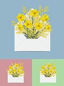 편지지와 꽃