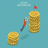 Isometric flat vector concept of business motivation, achievment, ambition.