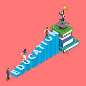 Education flat isometric vector concept.