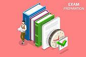 Exam preparation flat isometric vector concept.