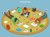 Homework flat isometric vector concept.