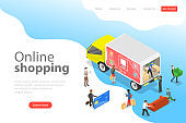 Flat isometric vector landing page template of easy shopping, e-commerce.