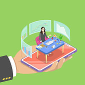 Isometric flat vector concept of online, expert, virtual business assistant.