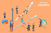 Isometric flat vector concept of business growth, increasing efficiency.