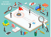 Keyword research flat isometric vector concept.