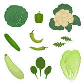 Set of green vegetables, isolated on a white background