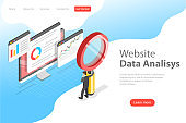 Flat isometric vector landing page template of website data analysis.