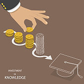 Investment in knowledge flat isometric vector.