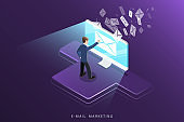 E-mail marketing isometric vector concept