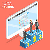 Search engine ranking flat isometric vector.