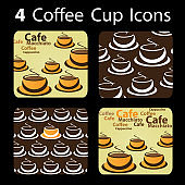 Set of Coffee Cup Patterns, Icons Clip-Art