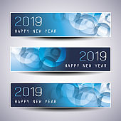 Set of Horizontal New Years Banners - 2019