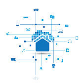 Internet Of Things, Smart Home Design Concept With House and Icons