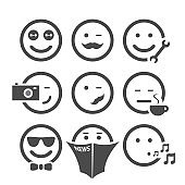 Emoticon Set with Various Facial Expressions