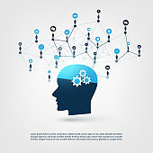 Machine Learning, Artificial Intelligence, Internet of Things, Online Business Networks Design Concept