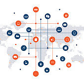 Global Networks, Internet Of Things Design Concept With Icons