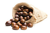 Fresh chestnuts in sack bag on white background