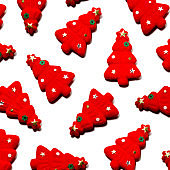 Set of red Christmas trees isolated on white color background.Flat lay.