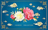 Background with peonies and Chinese clouds