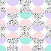 Vector seamless retro artistic pattern with round geometric elements. Trendy geometry in hipster style. Suitable for posters, covers, prints.