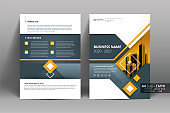 Brochure Flyer Template Layout Background Design. booklet, leaflet, corporate business annual report layout with gray, orange geometric and white background template a4 size - Vector illustration.